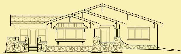 Front Elevation For Craftsman One Story Bungalow