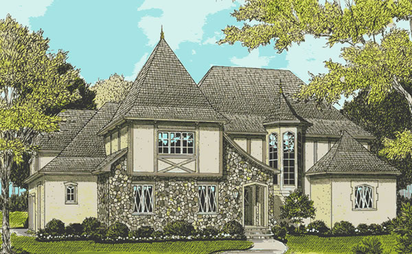 Front Elevation For European Tudor
