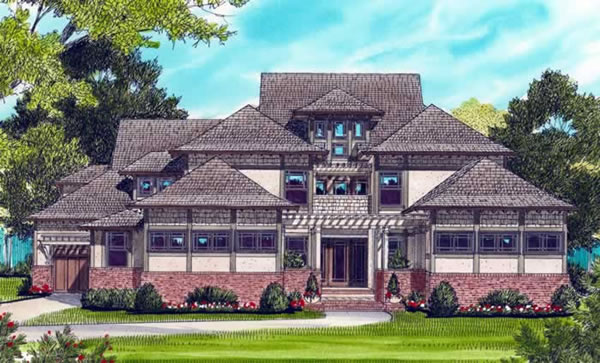 Front Elevation For Prairie Craftsman
