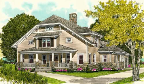 Front Elevation For Southern Craftsman