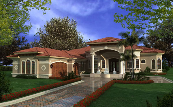 Mediterranean House Plans - Luxury 1-Story Waterfront Home