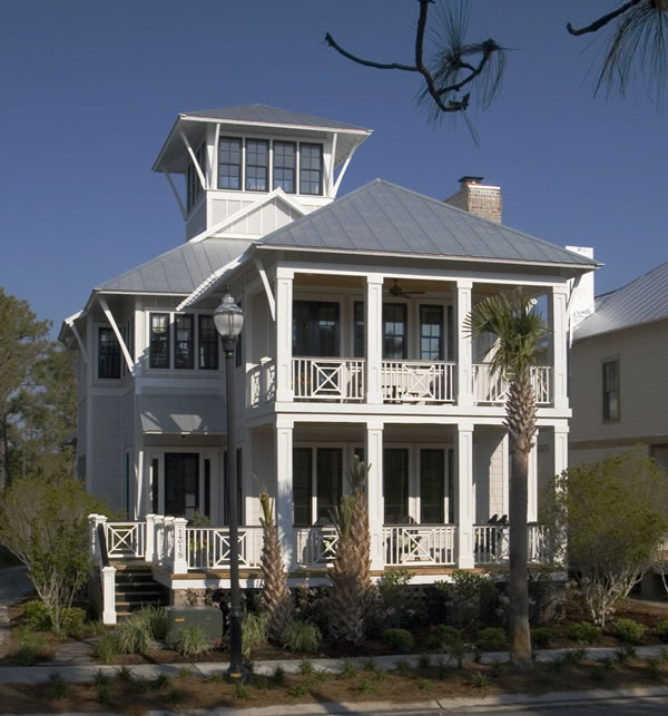 Coastal beach house plans 4 bedrooms 4 covered porches for Coastal house floor plans
