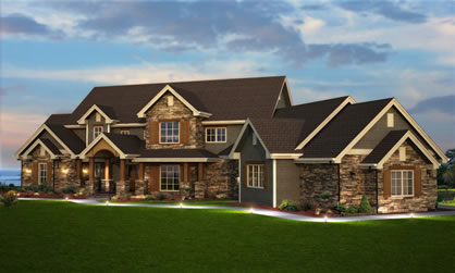 Rear View House Plans For a Large Five Bedroom Home