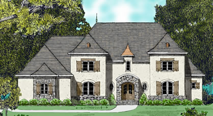 French country house plans for a 5 bedroom 4 bath home for Modern french country house plans