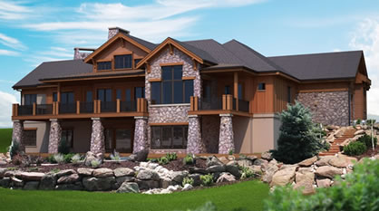 Mountain view plans for a hillside home with walk out lower for Mountain house plans with a view