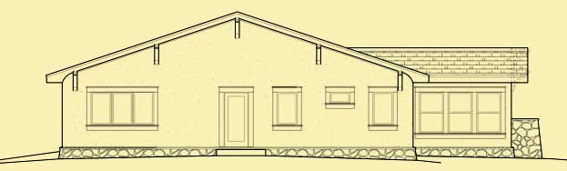 Rear Elevation For Craftsman One Story Bungalow